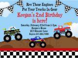 Truck themed Birthday Invitations Monster Truck Birthday Invitations Ideas Bagvania Free