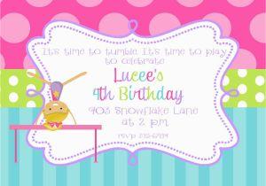 Tumbling Birthday Party Invitations Gymnastics Printable Or Digital