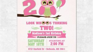 Turning 2 Birthday Invitations Items Similar to Owl Birthday Invitation Printable