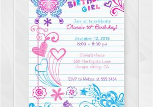 Tween Birthday Invitations Printable Free Notebook Doodles Invitation Girl