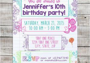 Tween Birthday Invitations Printable Free Teen Doodle Invitation Sleepover Invite