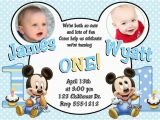 Twin 1st Birthday Invitations Baby Mickey Mouse Twins Boys 1st Birthday Invitations
