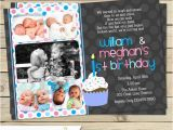 Twin 1st Birthday Invitations Boy Girl Twin 1st Birthday Invitation Blue Pink Double