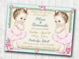 Twin 1st Birthday Invitations Twins 1st Birthday Invitation for Twin Girls Shabby Chic