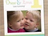 Twin Birthday Invitation Wording Baby Girl and Boy Twins First 1st Birthday Photo Invitation
