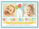 Twin Birthday Invitation Wording Bright Balloons Twin Birthday Invitation Shutterfly