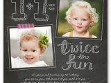 Twin Birthday Invitation Wording Twice as Fun Twins 1st Birthday Invitations Shutterfly