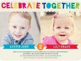 Twin Birthday Invitation Wording Twins Bday Invites Tiny Prints Mixed Gender Celebrate