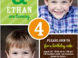 Twin Birthday Invites Twins 2 Photo Green Birthday Invite for Boys From