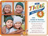 Twin Birthday Invites Twins Bday Invites with 3 Photos Tiny Prints Custom