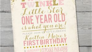 Twinkle Twinkle Little Star First Birthday Invitations Twinkle Twinkle Little Star Birthday Invitation Printable
