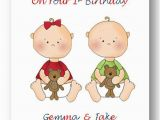 Twins 1st Birthday Card Personalised Babies First 1st Birthday Card 2nd Birthday Card