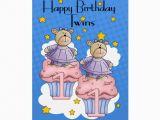 Twins 1st Birthday Card Twin Girl 1st Birthday Card with Cupcake Bears Greeting