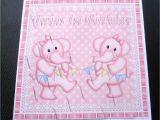 Twins 1st Birthday Card Twins 1st Birthday Elephants Card Girls Boys or Girl