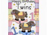 Twins 1st Birthday Card Twins First Birthday Card Two Little Ponies Zazzle