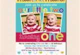 Twins First Birthday Party Invitations Colorful Fun Year Twins 39 First Birthday Party Invitation
