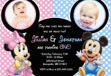 Twins First Birthday Party Invitations Minnie Mouse Mickey Mouse Baby One Twins First Birthday Party