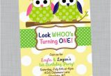 Twins First Birthday Party Invitations Owl Birthday Invitation Twin Owls Baby Shower Invitations