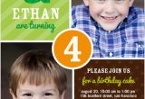 Twins First Birthday Party Invitations Twins 2 Photo Green Birthday Invite for Boys From