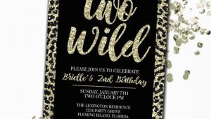 Two Wild Birthday Invitations Two Wild Birthday Invitation Cheetah Print Birthday