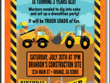 Under Construction Birthday Invitations Under Construction Dump Truck Birthday Invitations Di 371