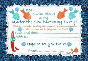 Under The Sea Birthday Party Invitations Free Printable Ideas Bagvania