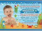 Under the Sea First Birthday Invitations Under the Sea 1st Birthday Invitations for Boys Di 362
