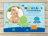 Under the Sea First Birthday Invitations Under the Sea Birthday Invitation Boy 1st Birthday