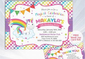 Unicorn Birthday Invitation Wording Rainbow
