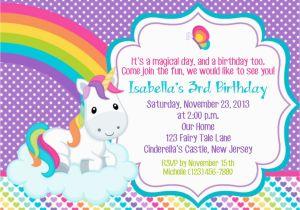 Unicorn Birthday Invitation Wording Personalized Custom Rainbow