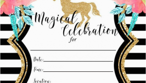Unicorn Birthday Invitations Online Free Printable Golden Unicorn Birthday Invitation Template