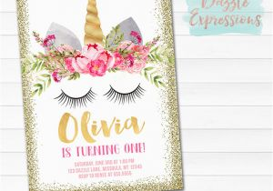 Unicorn Birthday Invitations Online Printable Face And Gold Glitter
