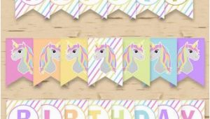 Unicorn Happy Birthday Banner Diy Diy Unicorn Banner Etsy