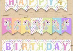 Unicorn Happy Birthday Banner Diy Diy Unicorn Banner Etsy