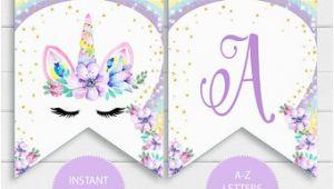 Unicorn Happy Birthday Banner Free Printable Unicorn Birthday Etsy