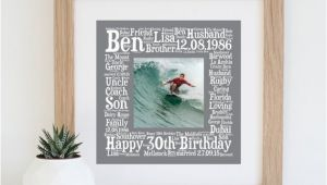 Unique 30th Birthday Ideas for Him Personalised 30th Birthday Gift Printable 30th Birthday