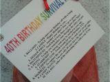 Unusual 40th Birthday Presents for Him 40th Birthday Survival Kit Fun Unusual Novelty Present