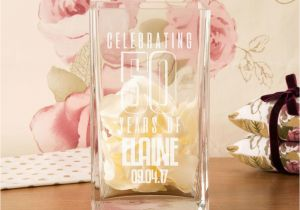 Unusual Birthday Gifts For Her Uk 50th Customised Square Glass Vase Unique Gift
