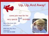 Up Up and Away Birthday Invitations Airplane Up Up and Away Birthday Invitation with Photo