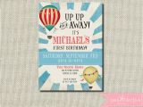 Up Up and Away Birthday Invitations First Birthday Invitation Up Up and Away Hot Air Balloon