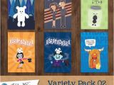 Variety Birthday Cards 6 Greeting Cards Variety Pack 02 by Turtlenotes On Etsy