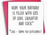 Very Rude Birthday Cards Funny Birthday Card Rude Birthday Card Autocorrect