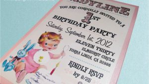 Vintage 1st Birthday Party Invitations 1950 39 S Style Retro Vintage Baby 39 S 1st Birthday