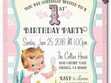 Vintage 1st Birthday Party Invitations Retro Vintage Baby 1st Birthday Invitations Di 230