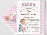 Vintage 1st Birthday Party Invitations Vintage First Birthday Girl Invitation