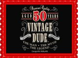Vintage 50th Birthday Decorations Vintage Dude 50th Edible Cake and Cupcake topper Decor