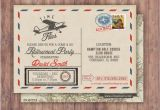Vintage Airplane Birthday Invitations Time Flies Vintage Airplane Post Card Retirement Party