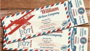 Vintage Airplane Birthday Invitations Vintage Airplane Ticket Party Invitation Create Your Own