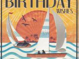 Vintage Birthday Cards for Men Boats Sunset Birthday Card Karenza Paperie