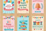 Vintage Birthday Cards Free Downloads Set Of Six Vintage Birthday Cards In Flat Design Vector